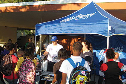 Marketing tent with students
