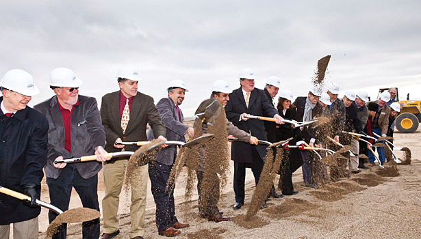 Hamdi Ulukaya (fifth from left) joins in on the groundbreaking ceremony in Twin Falls, Idaho, in 2011