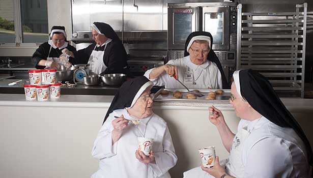 Nuns eating ice cream