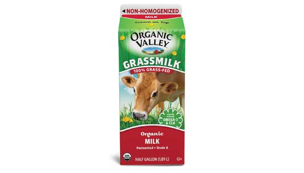 Organic Valley packages a milk from grass-fed cows. The milk contains omega-3s and conjugated linoleic acid.