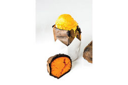 Yellow and orange dairy desserts