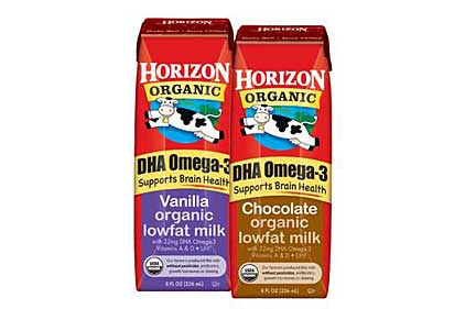 Organic Milk plus DHA Omega-3 in single-serve milk boxes