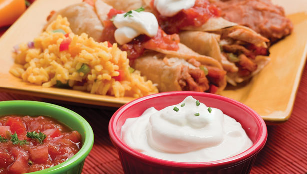 Sour cream with Mexican food