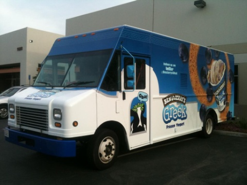 Ben and Jerry's ice cream truck Greek yogurt