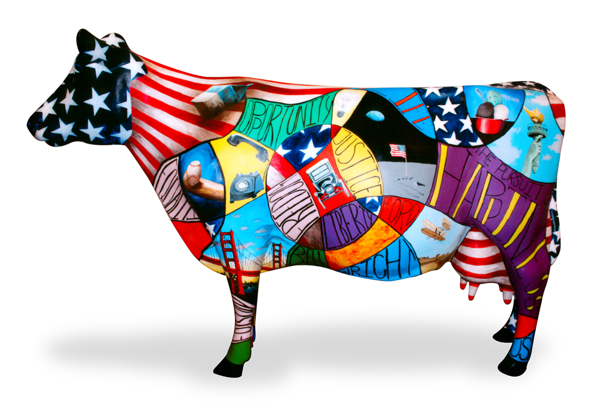 "Amy Chen won the grand prize in the Lucerne The Art of Dairy ""Red, White, & Moo"" art contest"