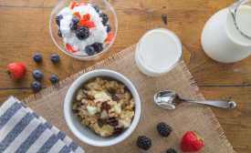 Milk and yogurt are two dairy foods to be eaten at breakfast