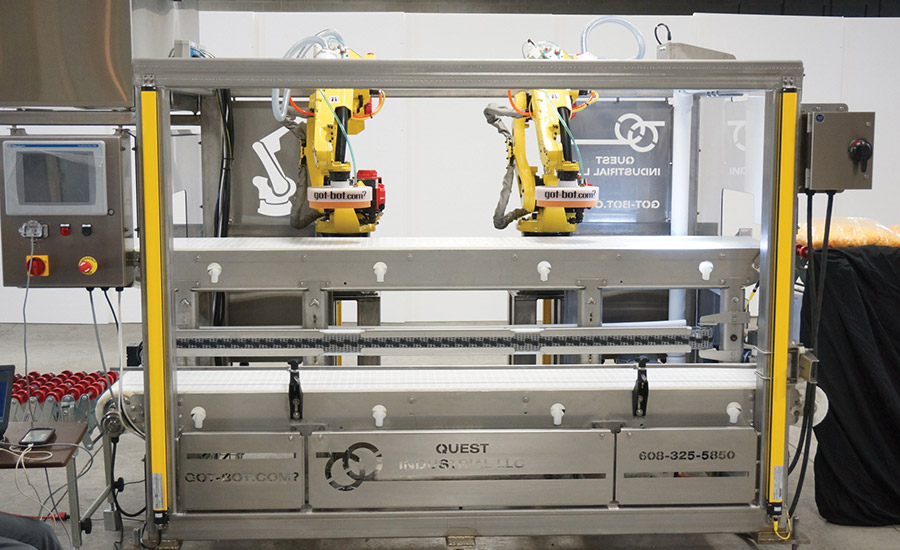 Quest Industrial's robotic, stainless steel pick & place system
