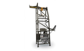 """National Bulk Equipment's bulk bag unloader provides closed-cycle dust containment"""