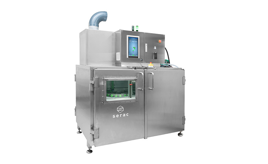 Compact cap sterilization modules can support aseptic bottling lines. Photo courtesy of Serac