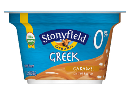 Stonyfield Greek yogurt package feature