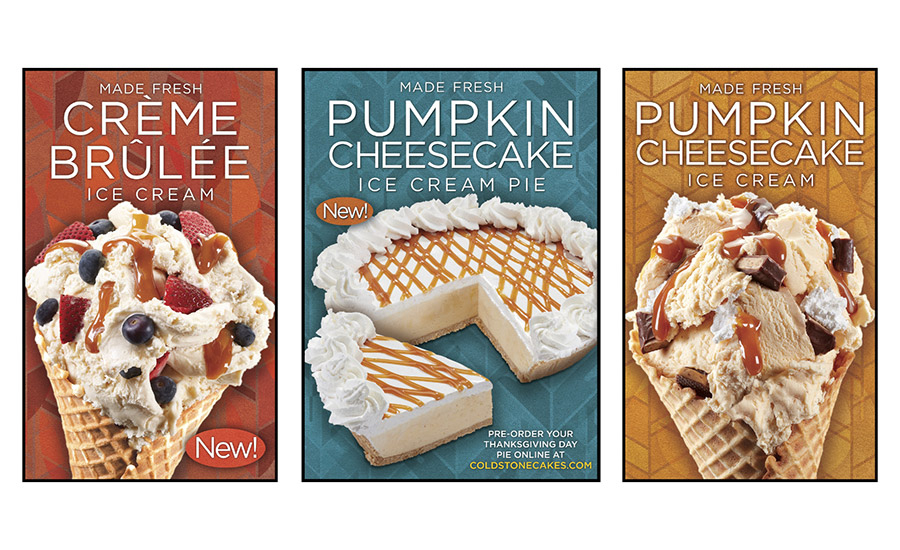 Cold Stone Creamery seasonal pumpkin flavor ice creams