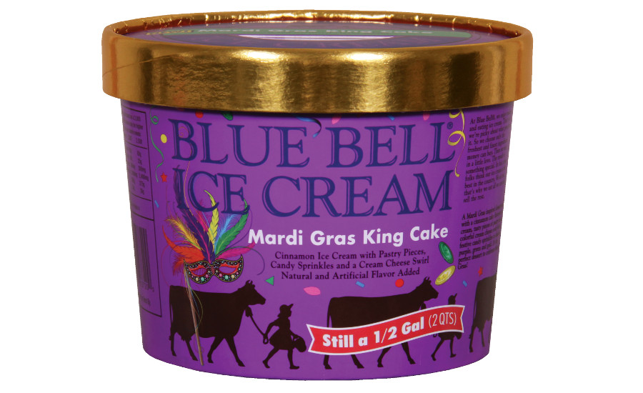 Blue Bell Mardi Gras King Cake ice cream