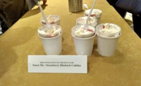Kemps 2017 Innovative flavor winner sweet me strawberry rhubarb cobbler ice cream