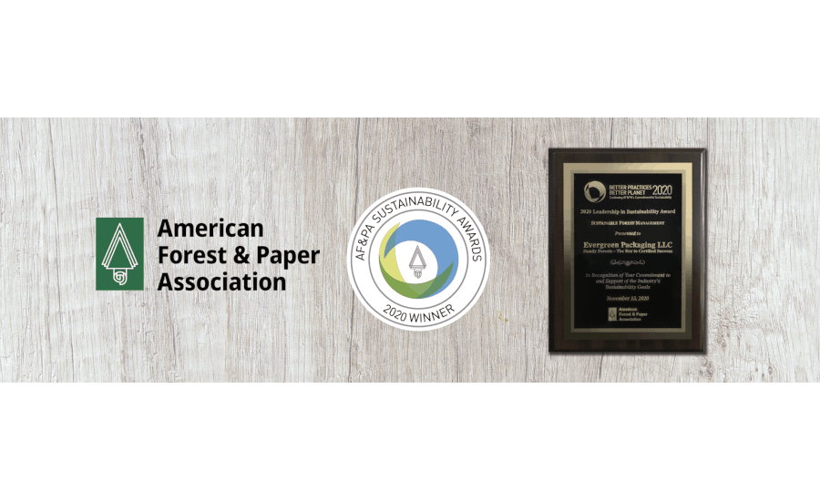 Evergreen Packaging wins AF&PA's 2020 Leadership in Sustainability Award