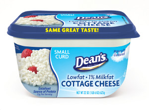 Deans Cottage Cheese curved container