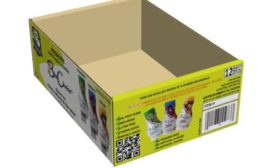 Sutherland Packaging produced a display case that holds a 12-pack of yogurt smoothies from Noga Dairy,